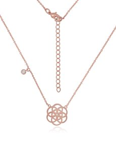 jewellery: Silver Rose Gold Plated Flower Necklace!