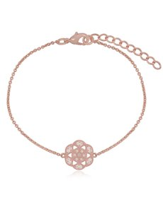 jewellery: Silver Rose Gold Plated Flower Bracelet!