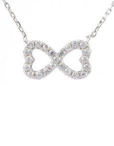 jewellery: Silver Infinity Double Heart Cubic Necklace!