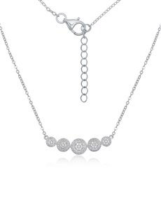 jewellery: Silver Round Cubic Necklace NJHKX039!