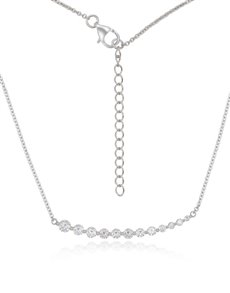 jewellery: Silver Curved bar Cubic Necklace NJHKX045!