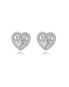 jewellery: Sterling Silver Heart Cubic Studs Earrings!