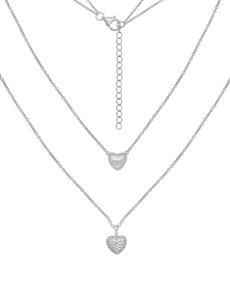jewellery: Sterling Silver Double Heart Necklace NJHKX069!