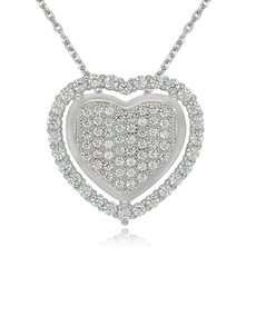 jewellery: Sterling Silver Heart Cubic Necklace NJHKX071!