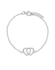 jewellery: Sterling Silver Heart Cubic Bracelet NJHKX075!