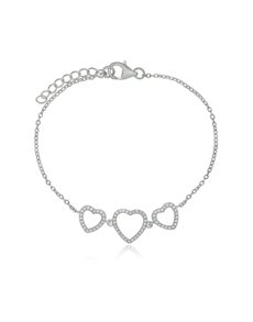 Sterling Silver Triple Heart Cubic Bracelet