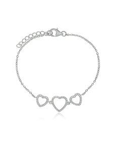 Sterling Silver Triple Heart Cubic Bracelet