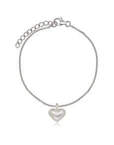 jewellery: Sterling Silver Puff Heart Ajustable Bracelet!