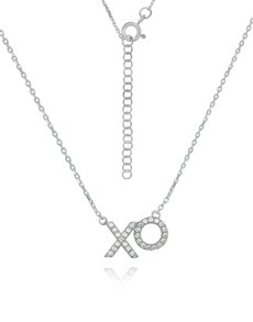 jewellery: Sterling Silver XO Cubic Necklace NJHKX084!
