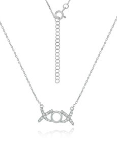 jewellery: Sterling Silver XO Cubic Necklace NJHKX085!