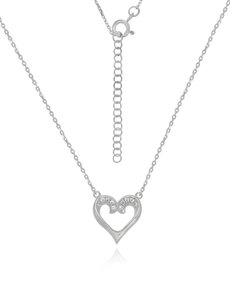 jewellery: Sterling Silver Heart Cubic Necklace NJHKX087!