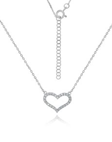 jewellery: Sterling Silver Heart Cubic Necklace NJHKX090!