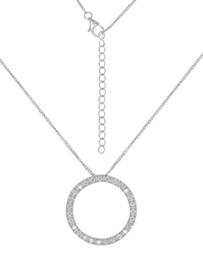 Sterling Silver Circle Cubic Necklace