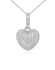jewellery: Sterling Silver Heart Cubic Necklace NJHKX093!