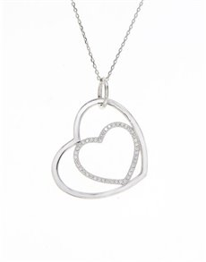 Sterling Silver Double Heart Cubic Necklace