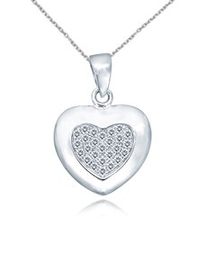 jewellery: Sterling Silver Heart Cubic Necklace NJHKX097!