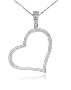 jewellery: Sterling Silver Heart Cubic Necklace NJHKX099!