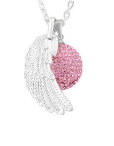 jewellery: Shiroko Harmony Bell Pink Crystal Wing Necklace!