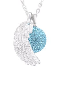 jewellery: Shiroko Harmony Bell Blue Crystal Wing Necklace!