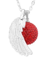 jewellery: Shiroko Harmony Bell Red Crystal Wing Necklace!