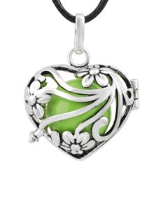 jewellery: Shiroko Harmony Bell Green Flower Heart Necklace!
