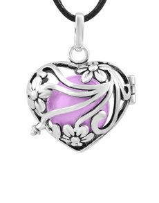 jewellery: Shiroko Harmony Bell Lilac Flower Heart Necklace!