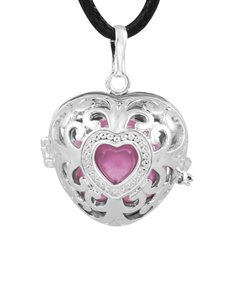 jewellery: Shiroko Harmony Bell Pink Heart Necklace!