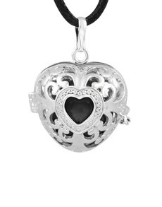 jewellery: Shiroko Harmony Bell Black Heart Necklace!
