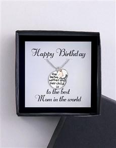 jewellery: Happy Birthday Best Mom Silver Necklace!