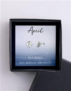 jewellery: April Birthstone Cubic Zirconia Stud Earrings!
