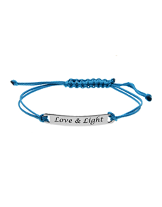 jewellery: Silver ID Love And Light Blue Silk Bracelet!