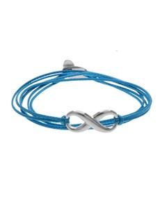 Sterling Silver Infinity Charm Silk Cord Bracelet
