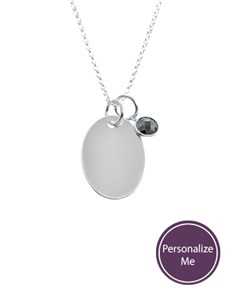 jewellery: Silver Oval Disc and Charm Personalised Necklace!