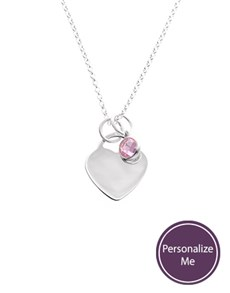 Silver Heart And Birthstone Personalised Necklace