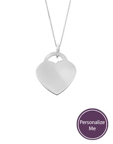 jewellery: Silver Large Heart Disc Personalised Necklace!