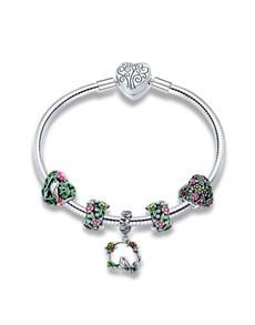 gifts: Silver Floral Charm Bracelet!