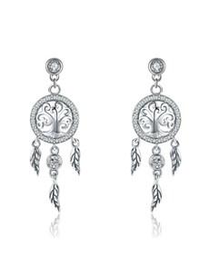 gifts: Silver Dream Catcher Dangling Earrings!