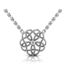 jewellery: WHY Sterling Silver Diamond Floral Necklace!