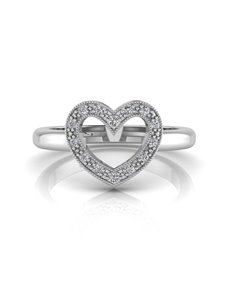 jewellery: WHY Silver Diamond Heart Ring NJWR021!