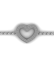 jewellery: WHY Sterling Silver Diamond Heart Bracelet!