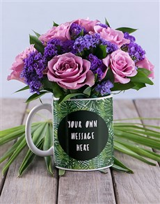 flowers: Personalised Leafy Mug With Lilac Blooms!