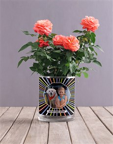 plants: Personalised Orange Rose Photo Vase!