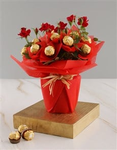 plants: Red Rose Bush And Ferrero Rocher Treats!