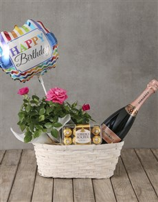 flowers: Pink Rose Bush Birthday Hamper!
