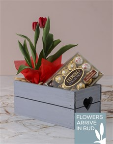plants: Red Tulips And Ferrero Rocher Crate!