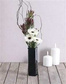 flowers: Monochrome Gerbera Arrangement!