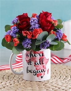 flowers: Where it all Began Red Rose Mug Arrangement!