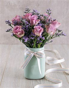 flowers: Lilac Roses in Mint Ceramic Vase!