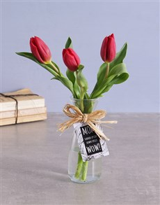 flowers: Red Tulips in Vase!