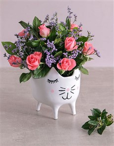 flowers: Pink Roses in a Cat Pot!